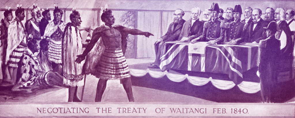 Negotiating the Treaty of Waitangi between the Maori tribe and British government