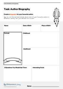 World Book Day - Author Biography Worksheet