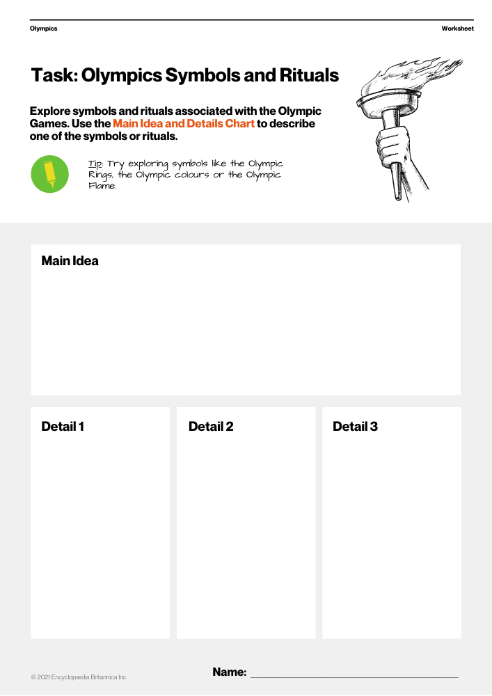 Olympic Games - Symbols and Rituals Worksheet