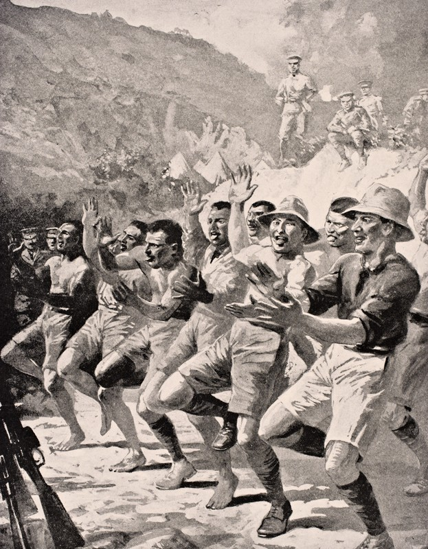 Maori soldiers perform a Haka